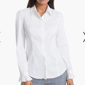 12 WHBM Abigail Poplin White Shirt